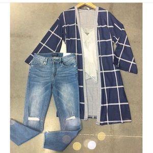 Navy blue geoplaid kimono
